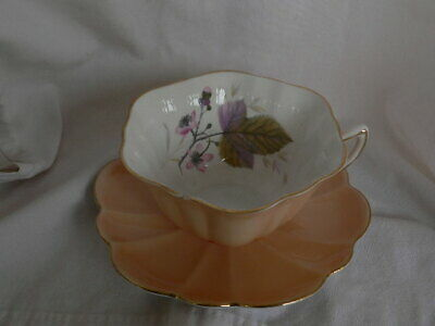 Shelley Atholl Shape Pastel Pink Color Cup & Saucer Flowers Inside