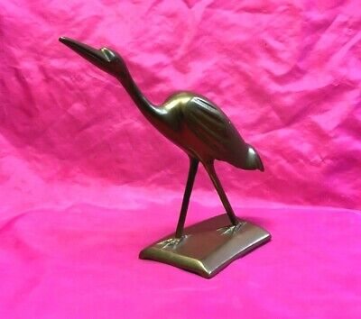 Beautiful Vintage Large Collectible Solid Brass Crane Figurine,statue - Nice!!