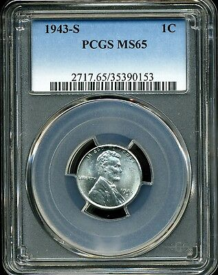 1943-S 1C Lincoln Wheat Steel Cent MS65 PCGS 35390153