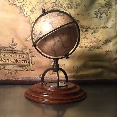 Old World Globe Wood Stand Authentic Models Vintage Armillary Mini Bookshelf
