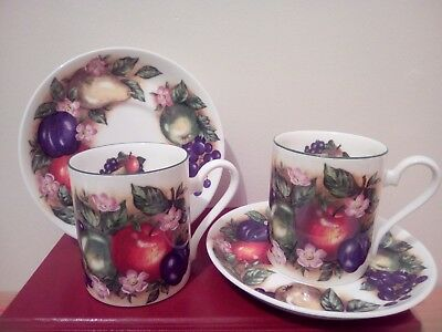 Roy Kirkham English bone china 2 coffee cups and saucers Orchard patten