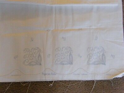 Vtg Vogart Cotton Stamped Embroidery & Crochet Pillow Case Tubing Set  Estate