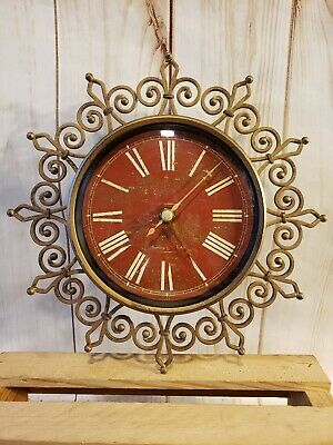 "Sterling & Noble Metal Brass Color Analog Battery Quartz Wall Clock 10""x10"""