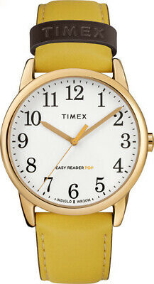 Timex Women's Easy Reader Color Pop 38mm Leather |Yellow| Dress Watch TW2R99300
