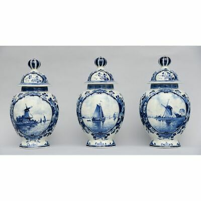 Three Antique Hand Painted Blue & White Porceleyne Fles Delft Lidded Jars