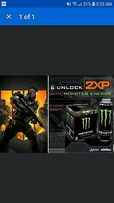 CALL OF DUTY Black Ops 4 DOUBLE XP Code For 30 MIN COD 2XP Monster Energy BO4