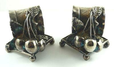 Pair of Antique Meriden Britannia Co. Silver-Plated Cherries Napkin Rings 1880's