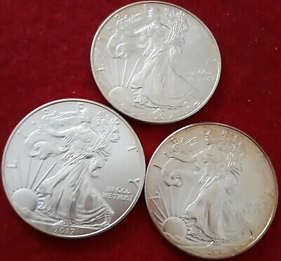Lot of 3 2017 Silver American Eagles • Brilliant Uncirculated Gems & Toned