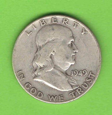 """1949 Franklin United States Half Dollar - SILVER - """"BETTER DATE"""" - circulated"""