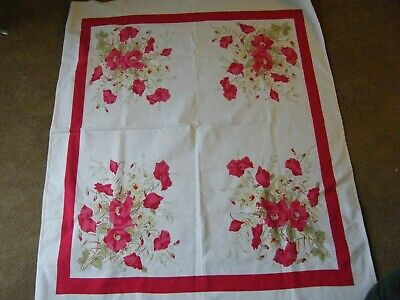"""Vintage  Unbranded Tablecloth White with Red/Pink Floral Design 52x46""""  Estate"""