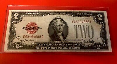 1928 G $2 Two Dollar Bill United States Legal Tender Red Seal Note