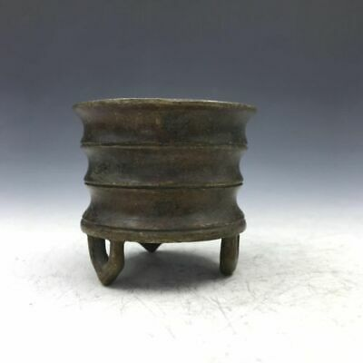 Chinese antiques exquisite copper three-legged incense burner  a692