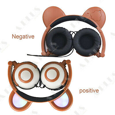 Bear Mouse Ear Headphones LED Light Up Flashing Glowing  Foldable Gift US