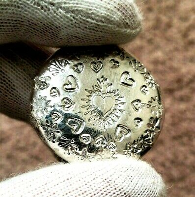 Heart Burst - 1 Troy Ounce .999 Fine Silver Art Round - Hand Poured & Stamped