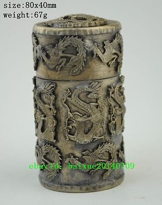China Old  copper plating silver Carving Dragon & Phoenix Toothpick Box a01