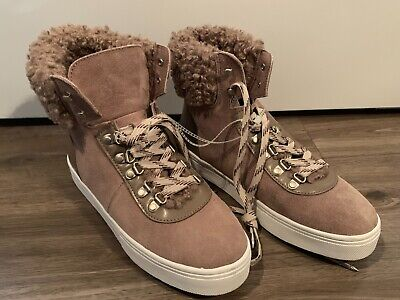 5208a279034f Sam Edelman Leather Faux Shearling High Top Sneaker Boot Women s Size 9  Luther