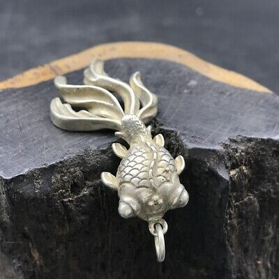 Chinese antique Tibetan silver hand-carved goldfish.   c362