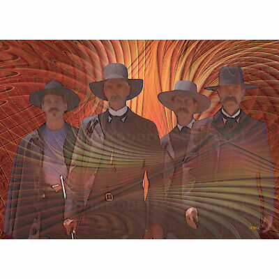"""ACEO Art Card Signed Print (2.5"""" x 3.5"""") Four Horsemen (Inspired by Tombstone)"""