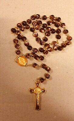Black Glass Crystal ROSARY Beads Necklace With Crucifix