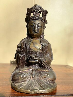 Chinese Ming Dynasty Carved Bronze Antique Buddha Statue