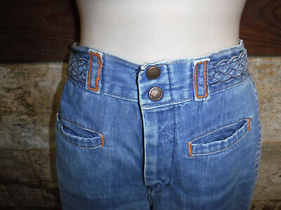 Vintage 1970's Groovy Bell Bottom Denim Jeans Women's 24 X 30 Made In Usa L@@k