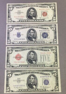 1934 C / 1953 A Silver Certificate & 1928 F /1963 Red Seal Note - $5 - Lot Of 4