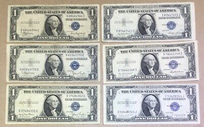 1935 A C D E F G $1 Silver Certificate Note Lot Of 6 Old US Notes - Type Set