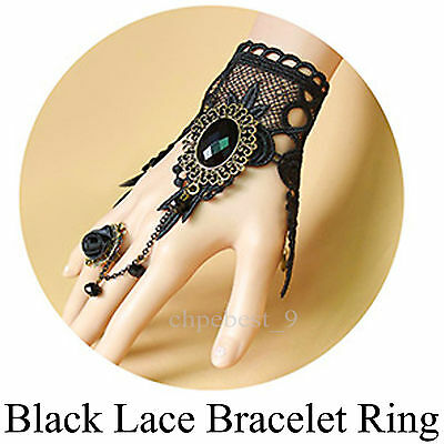 Black Lace Bracelets Ring Gatsby 1920s Flapper Dress Party Costumes Accessories