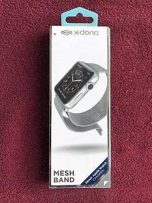 X-Doria Stainless Steel Mesh Band 38mm Apple Watch Compatible --Silver