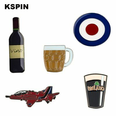 Vino Beer Cup Guitar Helicopter Cross Lapel Pin Badge Pins Brooches Coins