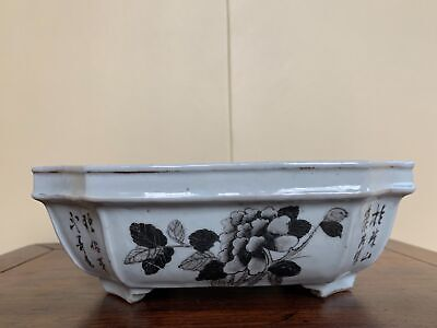 Nice Chinese Republic Period Ink Hand Painted Porcelain Antique Planter Pot