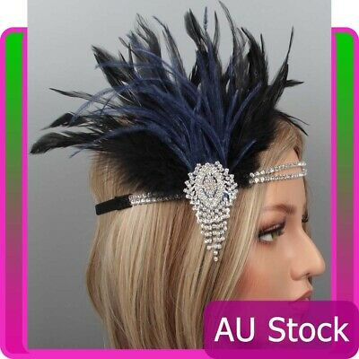 1920s Headband Black Feather Bridal Blue Gatsby 20s Flapper Headpiece Gangster