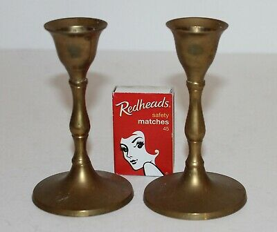 Pair Brass Candlesticks 2 Candle Holders 10.5cm high India Vintage