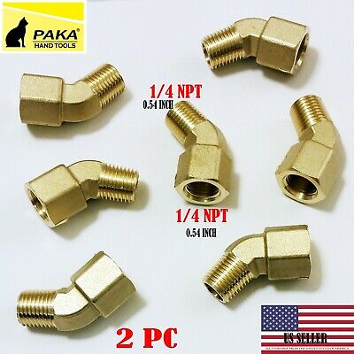 2 PC - 1/4 Inch NPT 45 Degree Street Pipe Elbow brass thread male female