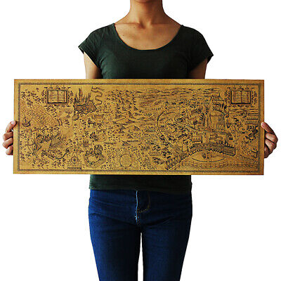 72x26cm Harry Potter Magic World Map View Paper Cafe Bar Poster Retro Wall