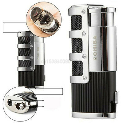 COHIBA High Grade Windproof Cigar Metal Lighters 4 Torch Jet Flame W/Punch