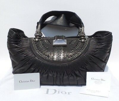 abaa135e80a2 CHRISTIAN DIOR Black Lambskin Leather Plisse Basket Woven Silver Medium  Tote Bag