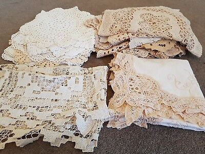 Bulk Lot 35 x Vintage Doilies Runners Crochet Lace Large Small Craft Wedding Dec