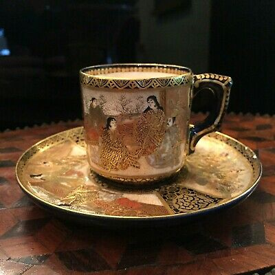 Late 19th Century Japanese Satsuma Ware Demitasse Cup and Saucer