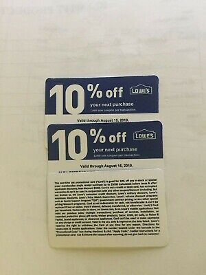 3 Lowes 10% off Coupons (Only Good at Home Depot) $4.99 Expire Jan 15th 2019