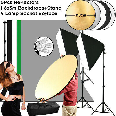 Studio Softbox Photography Backdrop Stand Kit Continuous Lighting Reflector Grip