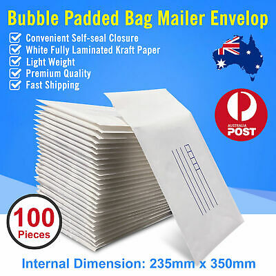 100pc of 235x350mm Bubble Padded Bag Mailer White Printed Kraft Cushion Envelope