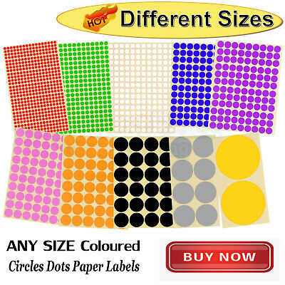 5X ALL SIZE Dot Stickers Round Colorful Spot Dots Paper Labels Circles Tool &new