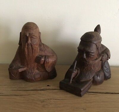 Two Chinese Wood Statues Hand Carved Scribe Scholar Spiritual Old Belief