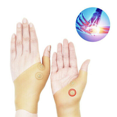 2X Magnetic Therapy Thumb Support Gloves Silicone Gel Pain Relief Wrist Hand NEW