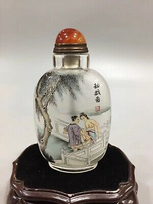 Collecting China's finely rare pure hand painting men&wom glass snuff bottles