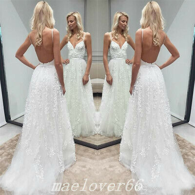 f89971a3ce Bohemian Beach Spaghetti Strap Summer Backless Wedding Dress Bridal Gowns  Custom
