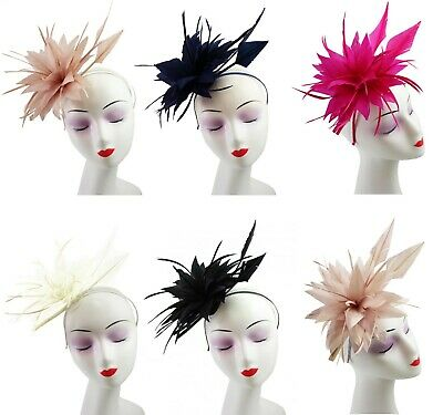 Flower Feather Fascinator Bead Beak Hair Clip Brooch Ladies Day Ascot Races New