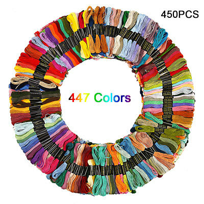 447 x EMBROIDERY THREAD FLOSS KIT CROSS STITCH COTTON SEWING SKEINS MIX COLORS