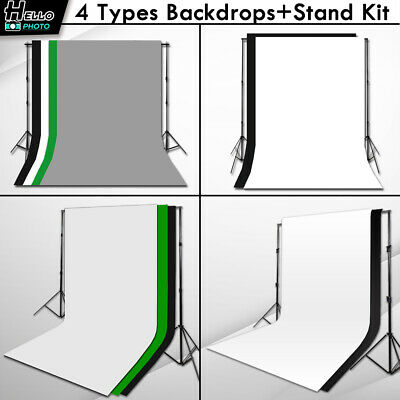 Photography Studio Chroma Green Black White Grey Backdrop Stand Kit Background